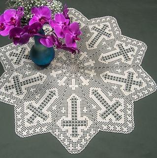 Ravelry Cross Table Topper In Filet Crochet Ft 434