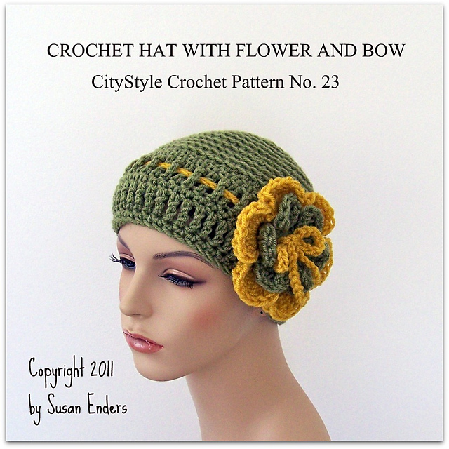 Ravelry Crochet Hat With Flower And Bow Pattern By Susan Enders