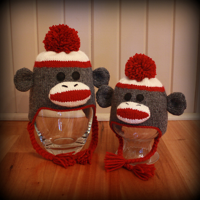 Ravelry  Sock Monkey Ear Flap Hats for the Whole Family pattern by ... 8f50360d7cf