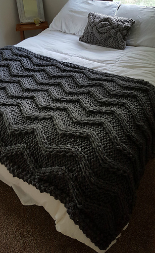 Ravelry Chevron Cable Knit Blanket Pattern By Allison