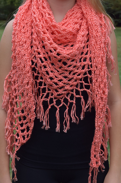 Ravelry Coral Fringe Triangular Shawl Pattern By Undeniable Glitter