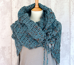 Knitting Pattern For Small Neck Scarf : Ravelry: Double Mesh Poncho Wrap pattern by Caroline Brooke