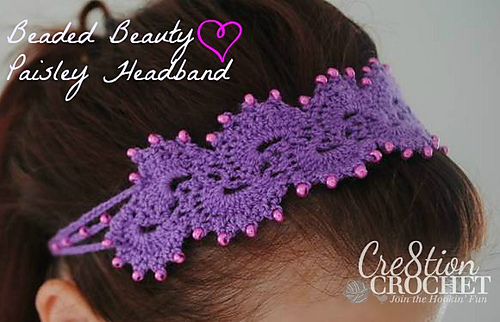 Ravelry Queens Lace Beaded Beauty Paisley Headband Pattern By