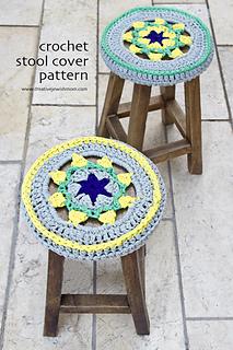 Crocheted Star Medallion Stool Cover ... 679c7396132b
