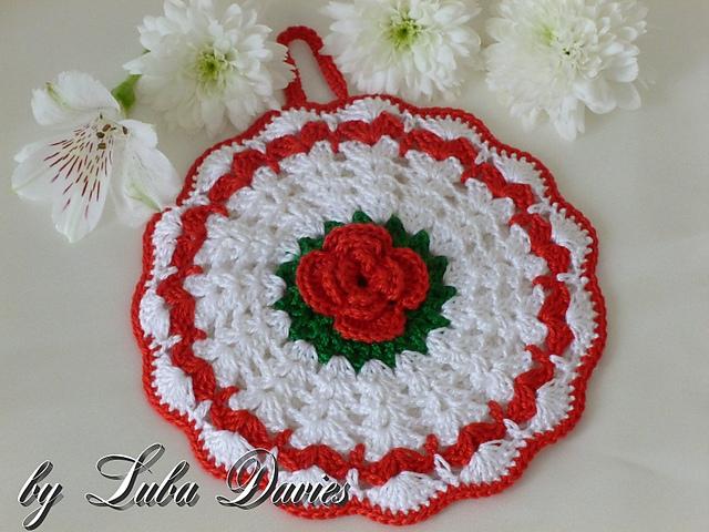 Ravelry Rose Potholder Pattern By Crochet Atelier