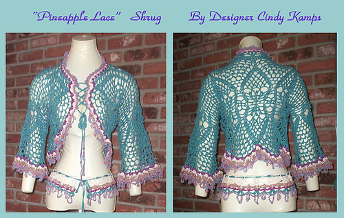 Ravelry Pineapple Lace Shrug Pattern By Cindy Kamps