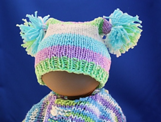 Ravelry  Square Knitted Baby Hat with Pom Poms pattern by Janet Ballweber 3a75543fa13
