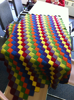 Tunisian Crochet Entrelac Throw Pattern By Lion Brand Yarn Ravelry