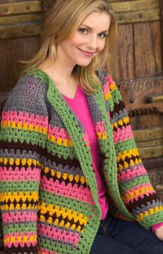 Ravelry Vintage Striped Jacket Pattern By Red Heart Design Team