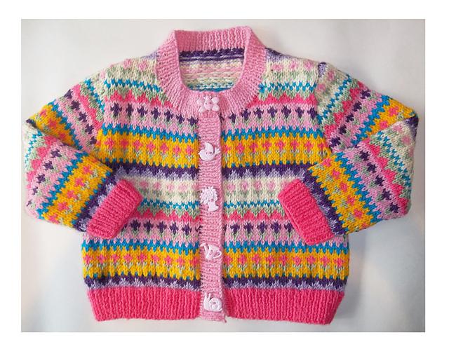Ravelry: Petite Fleur Fair Isle Cardigan pattern by Audrey Wilson