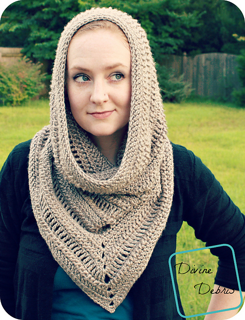 Ravelry Ariel Hooded Cowl pattern by Divine Debris Best Hooded Cowl Pattern