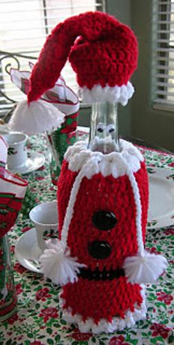Ravelry Santa Wine Bottle Cover Cozy Crochet Pattern Pattern By