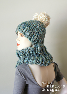 b93b05a0219 Ravelry  Chunky Knit Pom-Pom Hat and Cowl Set (Hat026) pattern by ...