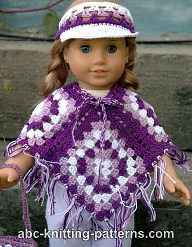 Ravelry American Girl Doll Granny Square Poncho Pattern By Elaine