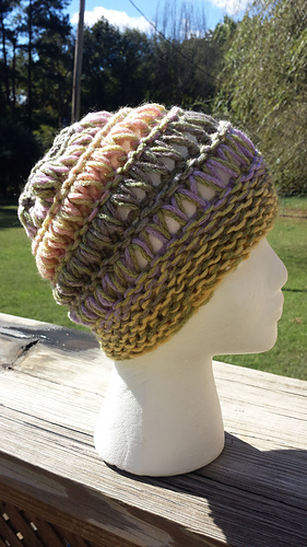 Ravelry: Loom Knit Drop Stitch Slouchy Hat pattern by Erica Taylor