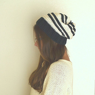 0aaa18b96c2 Ravelry  Slouchy Striped Beanie Hat pattern by the Good Shnit