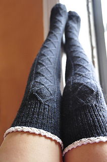Ravelry Quot Diamond In The Ruffle Quot Cable Knit Socks Pattern