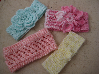 Ravelry: Easy Knit Baby Headbands with Flowers pattern by ...