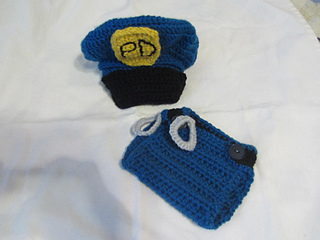 Ravelry  Newborn Police Hat and Diaper Cover Set Crochet Pattern ... 0e00eb3951c
