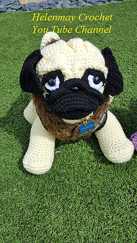 ravelry  pug amigurumi dog pattern by helen brady