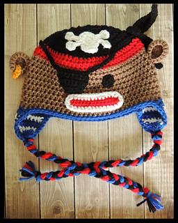 fa83f40c714 Ravelry  Pirate Sock Monkey Crochet Hat pattern by Jamie Huisman