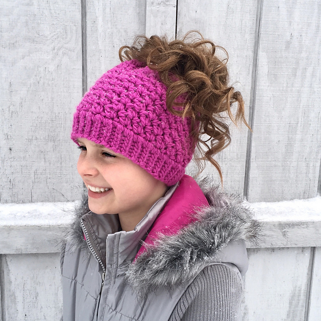 f9f0d635186 Ravelry  Kaycee Ponytail or Bun Beanie Hat pattern by Crochet by ...