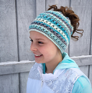 ba4c80ec3205a Ravelry  Criss Cross Ponytail or Messy Bun Hat pattern by Crochet by  Jennifer