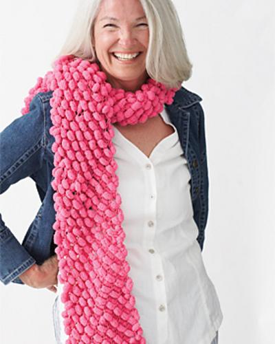Ravelry Puff Ball Knit Scarf Pattern By Bernat Design Studio