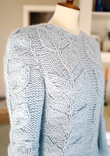 Ravelry Chunky Enbossed Vine And Leaves Knit Sweater Pattern By