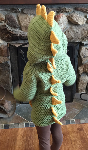 93ff21dca Ravelry  Dino  Dinosaur Hooded Sweater with Spikes pattern by ...