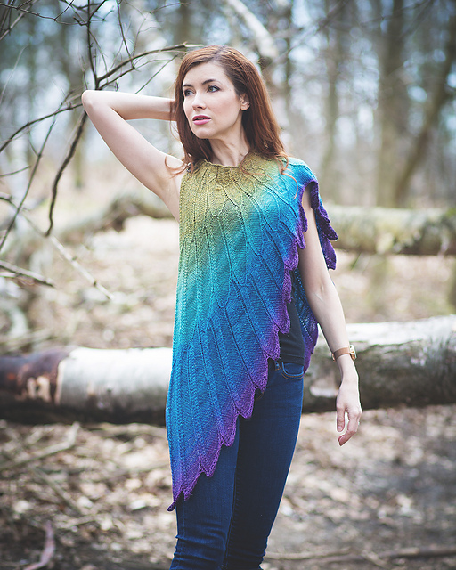 A model wearing the Wingspan shawl