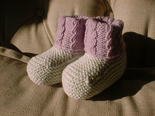 2e59f613ea5 Ravelry  Mock Cable Baby Booties pattern by Angela Turner