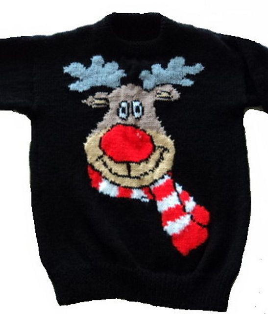 040a0d477 patterns   Blonde Moments.   Christmas Rudolph Reindeer Jumper   Sweater  Knitting Pattern ...