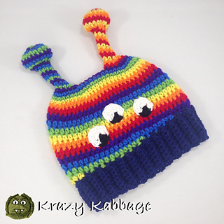 Ravelry  Alien Rainbow Beanie pattern by Krazy Kabbage 608b4070457