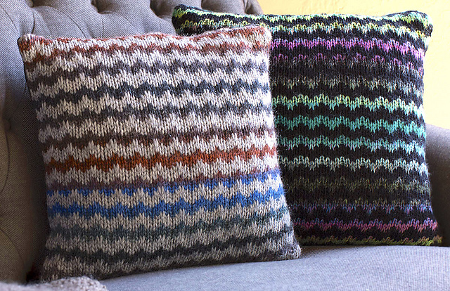 Free knitting pattern for Striped Mosaic Throw Pillow