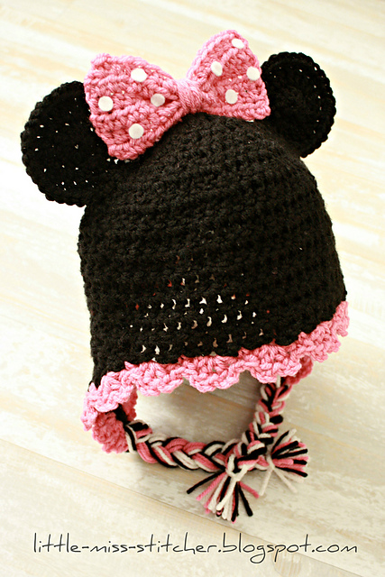 Ravelry Toddler Minnie Mouse Earflap Hat Pattern By Little Miss