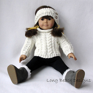 a92bec215e0 Ravelry  Doll Aran Sweater and Warmer pattern by Martha McKeon
