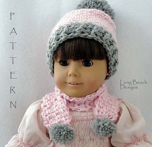 5704a654f39 Ravelry  Doll Pompom Beanie and Scarf pattern by Martha McKeon