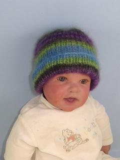 Ravelry  Baby Angel Print Mohair Rib Beanie Hat pattern by Christine ... 23e3ddb7234