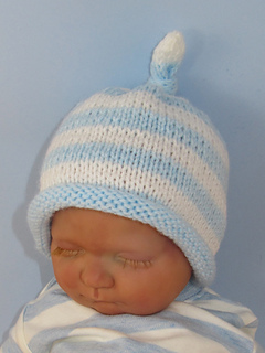 1f489e08beb Ravelry  Baby Stripe Roll Brim Topknot Beanie Hat pattern by ...