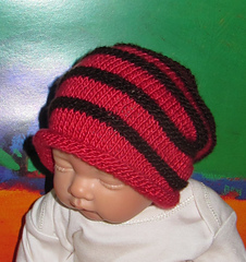 3ba19504179 Ravelry  Baby Simple Roll Brim Stripe Slouch pattern by Christine Grant
