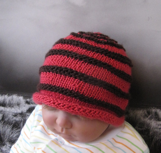 68235dc9b5a Ravelry  Baby Simple Stripe Roll Brim Beanie Hat pattern by Christine Grant