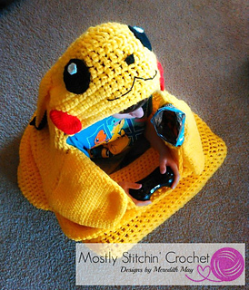 Cuddle-Up Pikachu Snuggle Blanket pattern by Mostly Stitchin' Crochet  Designs by Meredith May