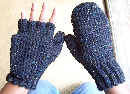 Ravelry Crocheted Mittens Fingerless Gloves Womens Pattern By