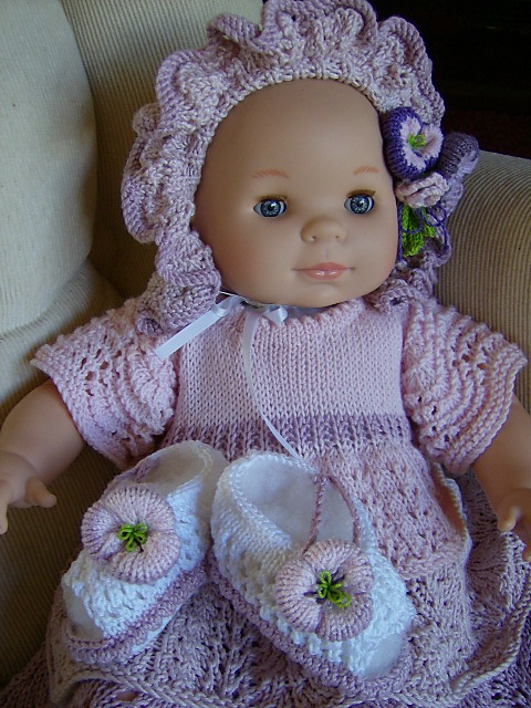 5b4e8ac04 Ravelry  Lilac Dreams - Baby Dress Bonnet Peep-Toe Sandals pattern ...
