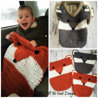 Ravelry: Fox & Wolf Car Seat Cozy pattern by MJ\'s Off The Hook Designs