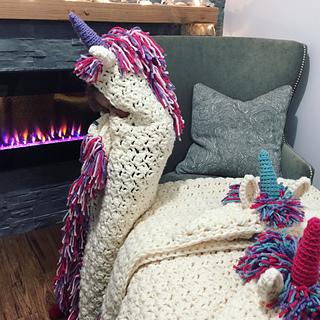 Knitting Pattern For Unicorn Blanket : Ravelry: Bulky & Quick Unicorn Blanket /Cowl pattern by MJ ...