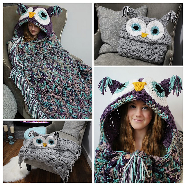 Ravelry Bulky Quick Hooded Owl Blanket Pattern By Mjs Off The