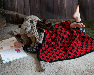 4992c7742a6e8 Hooded Woodland Moose Blanket pattern by MJ's Off The Hook Designs