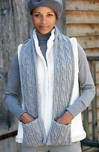 Ravelry Cabled Scarf With Pockets 145 Pattern By Patons